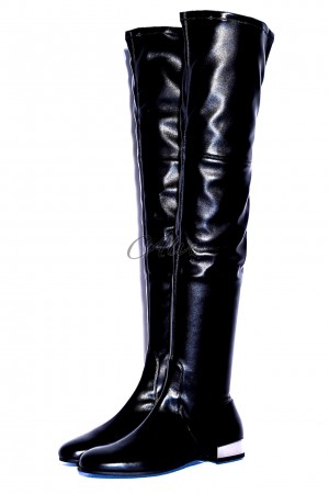 Stivali sopra il ginocchio neri in pelle