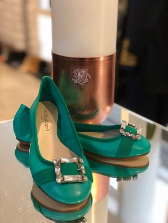 Ballerine Anna Baiguera verde smeraldo