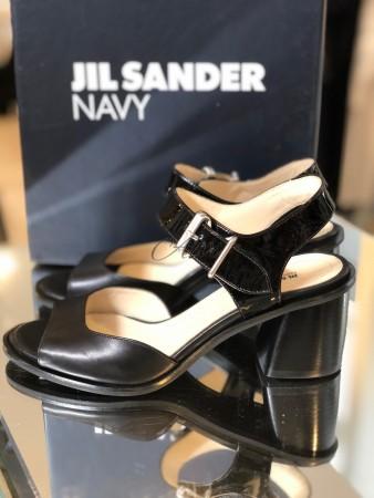 Sandali neri tacco medio Jil Sander navy