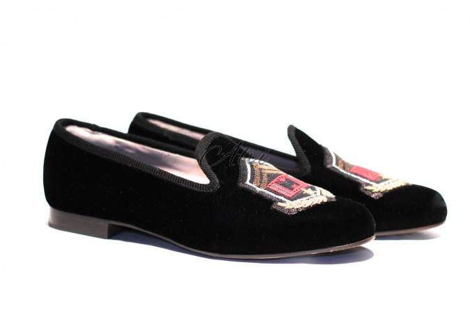 Pantofola in velluto Marc Jacobs con ricami e paillettes