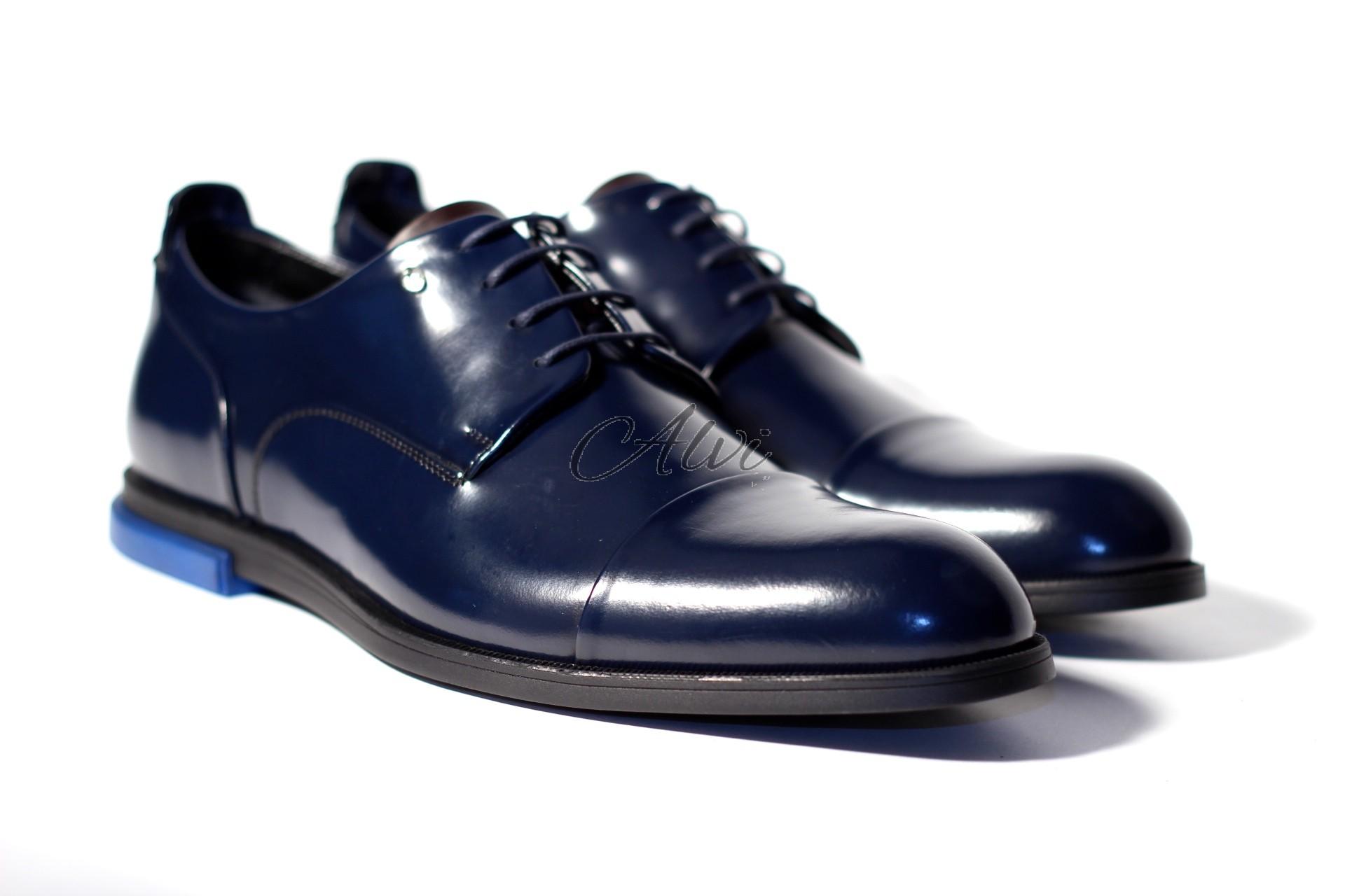 Scarpe maschili allacciate blu notte con tacco blu elettrico cc4f1706d76