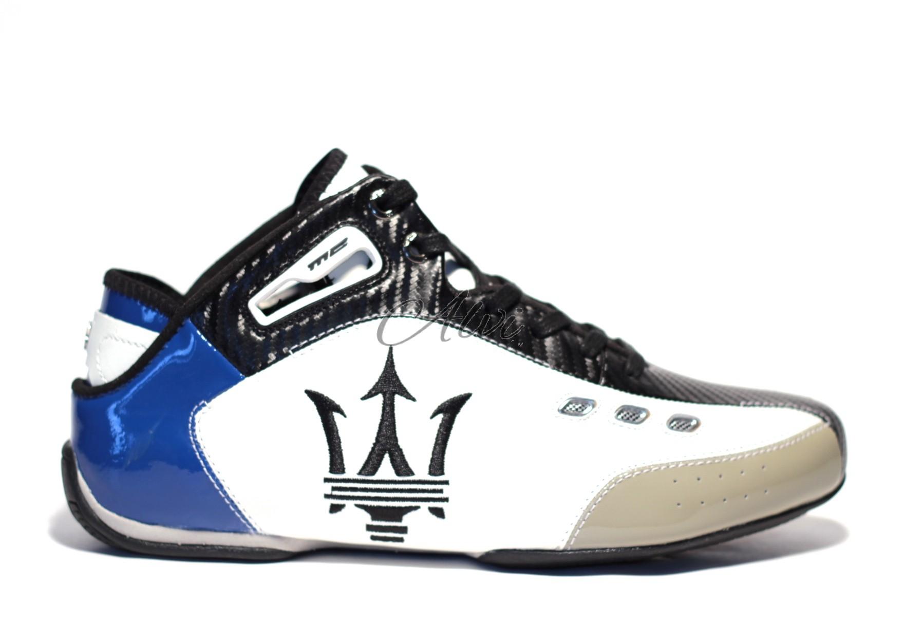the latest c3d8b ecd8c sneakers Maserati alte in caviglia blu bianche e nere