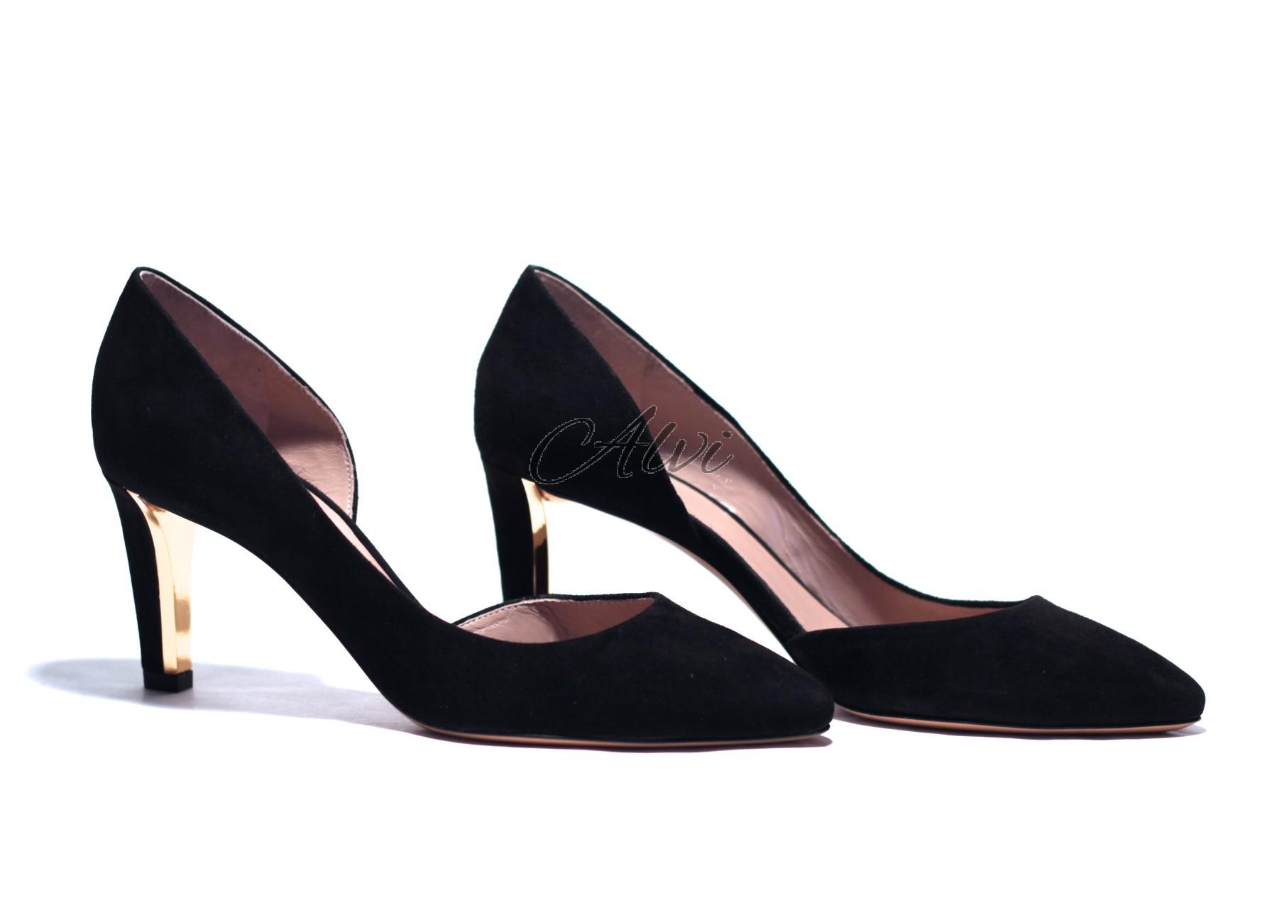 816f3db442c6c Décolleté elegante Chloé modello becky in camoscio nero tacco medio