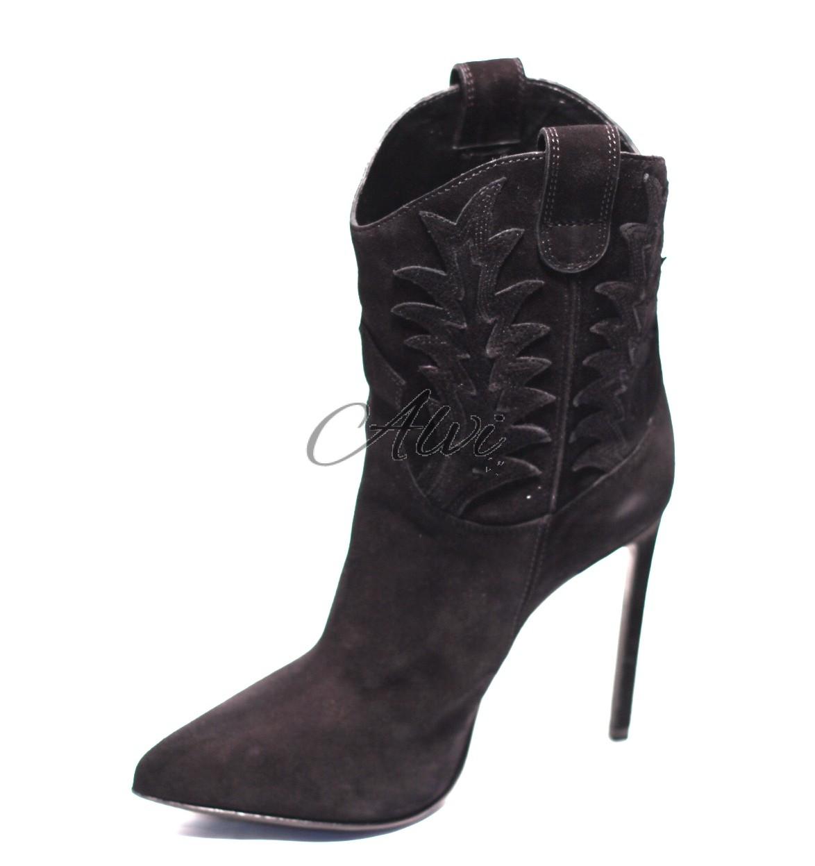 c69ed5f2c5 stivali texani corti tacco a spillo 12 cm in camoscio nero