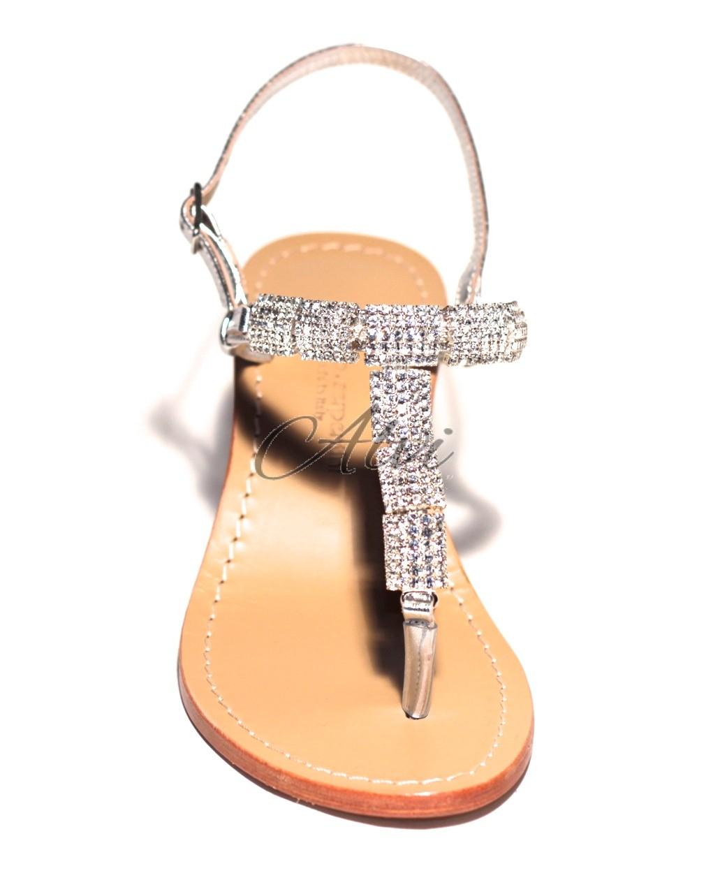 offrire il migliore scarpe da ginnastica Sandali infradito stile Capri con brillantini argento