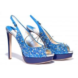 Sandalo Twi.. blu elettrico tacco 12 con pietre e borchie