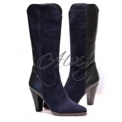 Stivali texani Chloé in camoscio blu e pelle nera