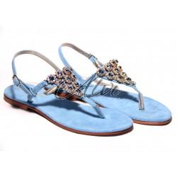 Sandali infradito stile Capri azzurri