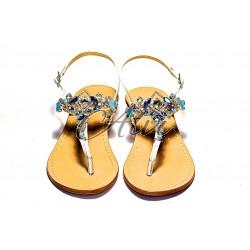 Sandali infradito bianchi pietre turchesi