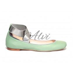 Ballerine Chloé con elastici stile danza verde menta