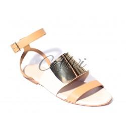 Sandalo See by Chloé stile schiava beige con placca metallo oro