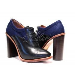 Francesine Chloé stile retrò con tacco alto bicolore nero e blu