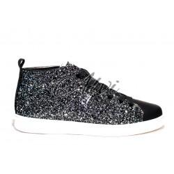 Sneakers Stau nere con glitter