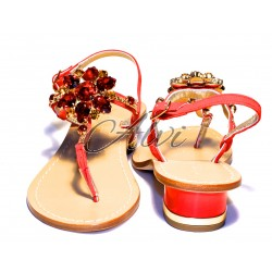 Sandali infradito Capri maxi fiore rosso