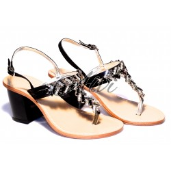 Sandali infradito nero tacco