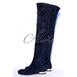 Stivali sopra il ginocchio suede blu