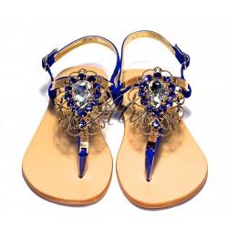 Sandali infradito Capri blu elettrico maxi pietra